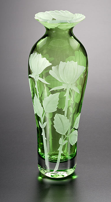 Rose Buds Vase with Cut-Away Lip (green) glass by Cynthia Myers ***