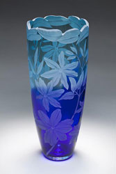 Clematis gone Wild glass art by Cynthia Myers