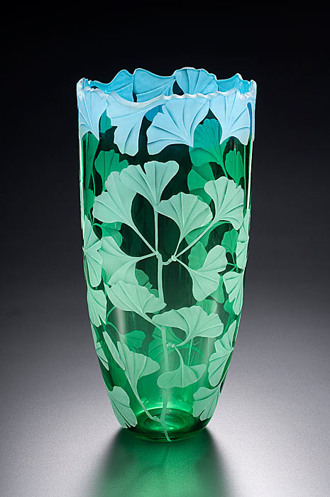 Ginko Leaves art glass by Cynthia Myers