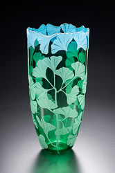 Ginko Leaves glass art by Cynthia Myers