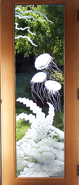 Pacific Ocean Door architectural glass by Cynthia Myers