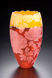 Mom's Peony glass art by Cynthia Myers