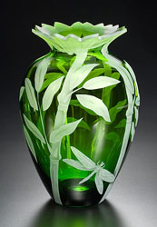 Bamboo and Dragonfly glass art by Cynthia Myers