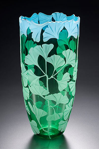 ginko vase sand carved glass