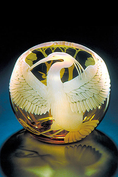 Great Blue Heron bowl sand carved glass