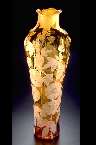 Hollyhocks vase sand carved glass