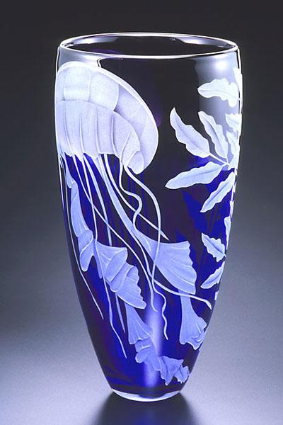 Jellyfish vase sand carved glass