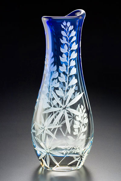 lupine vase sand carved glass