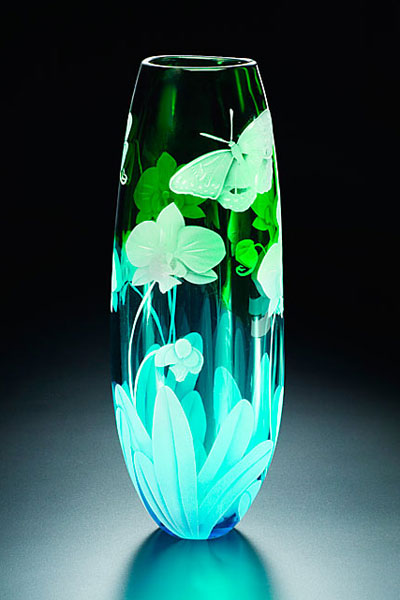 Orchid and Butterfly vase sand carved glass