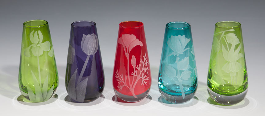 Bud Vases  glass by Cynthia Myers