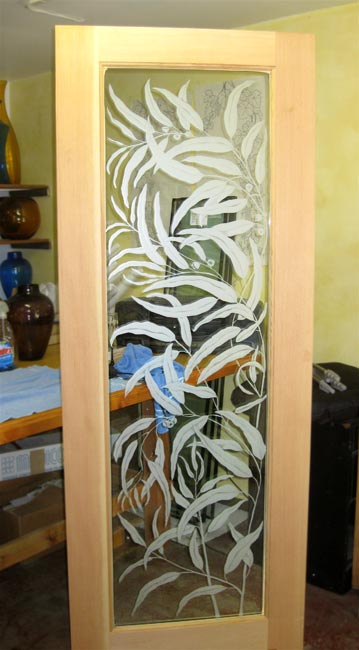 Eucalyptus Door architectural glass by Cynthia Myers