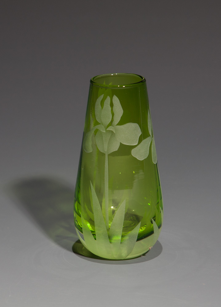 Iris bud vase Lime  glass by Cynthia Myers