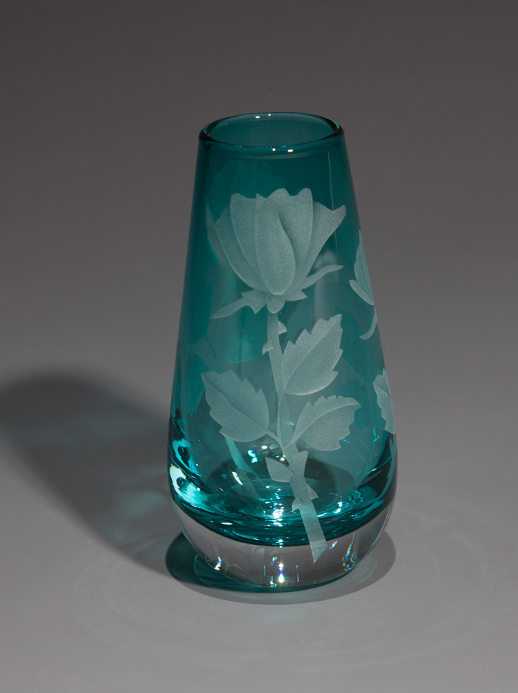 Roses peacock blue bud vase  glass by Cynthia Myers