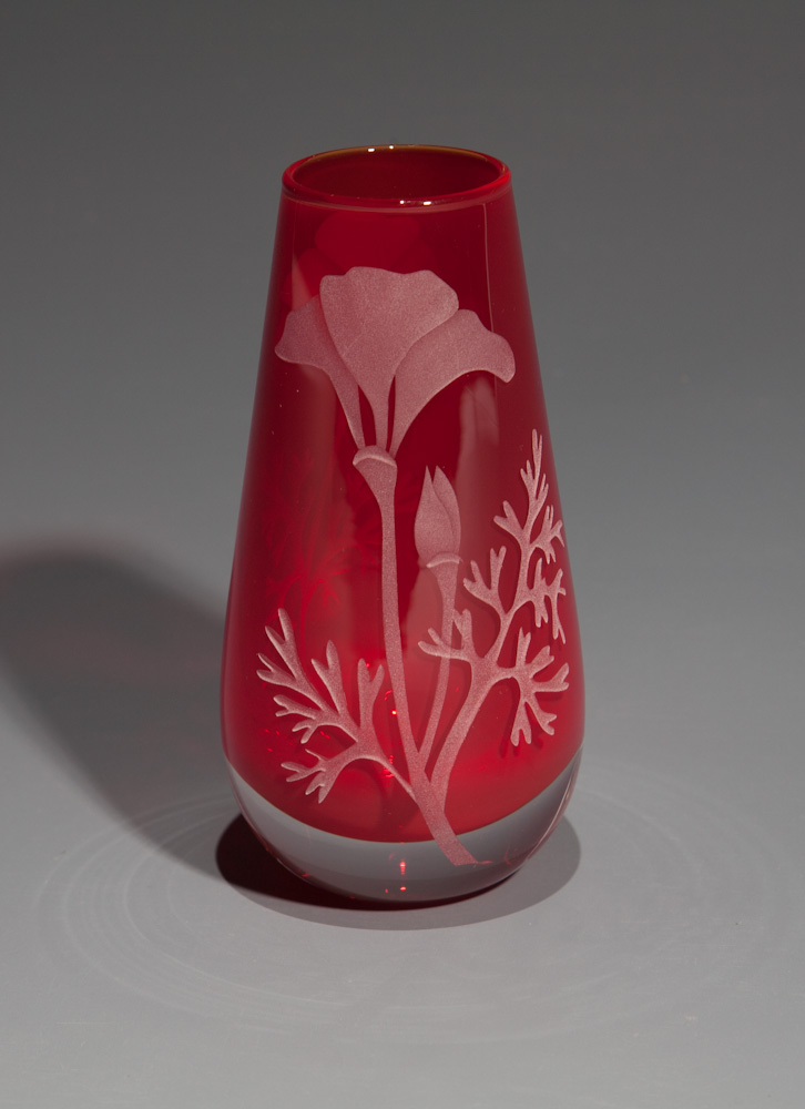 Red Poppy bud vase  glass by Cynthia Myers