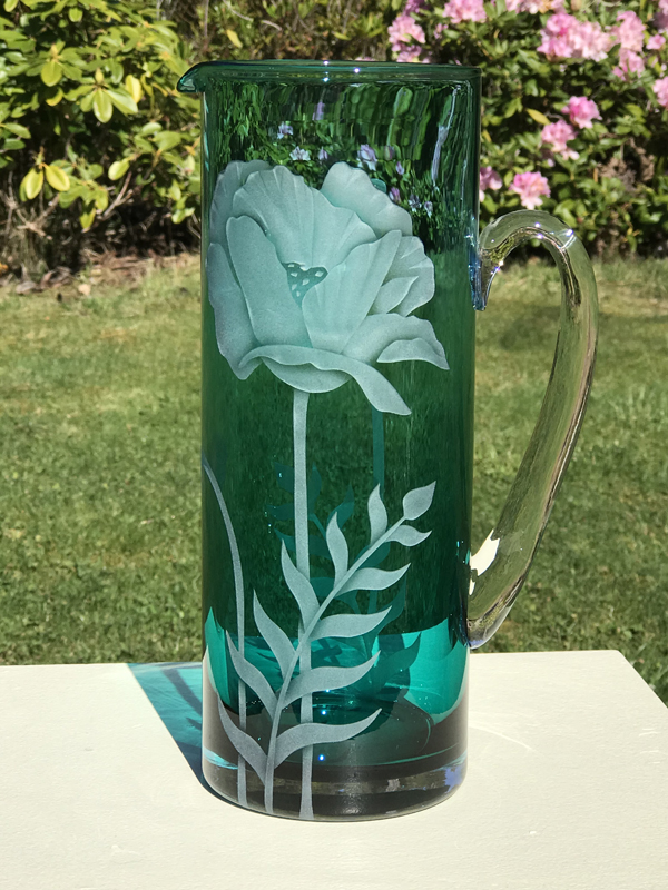 Poppy Pitcher  glass by Cynthia Myers