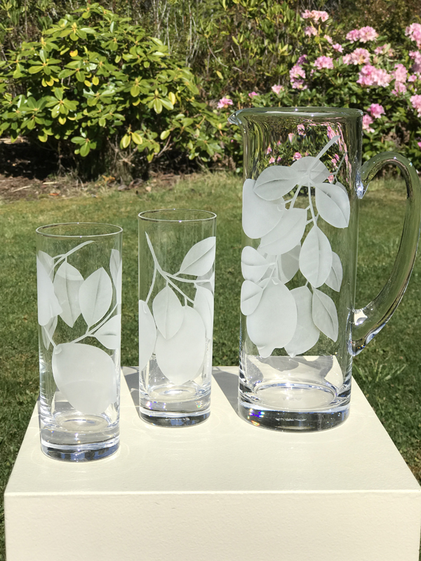 Lemon Pitcher and Glasses  glass by Cynthia Myers