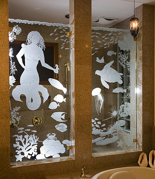Mermaid Shower Panels architectural glass by Cynthia Myers