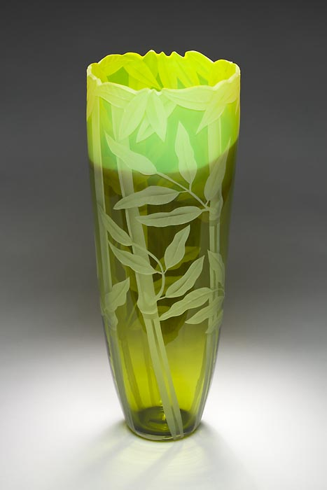 Bamboo Vase art glass by Cynthia Myers