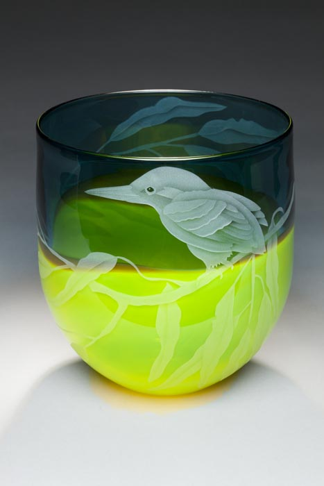 Green Hummer art glass by Cynthia Myers