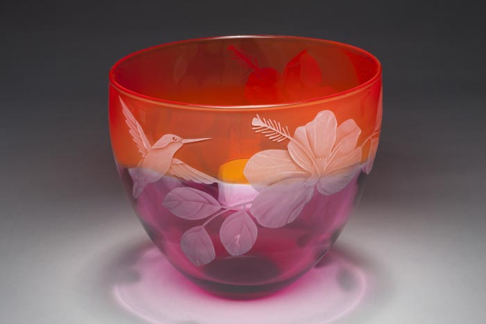 Hummingbird and Hibiscus art glass by Cynthia Myers