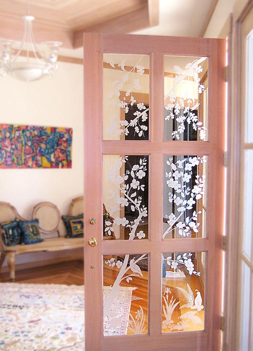 Dogwood Custom Door architectural glass by Cynthia Myers