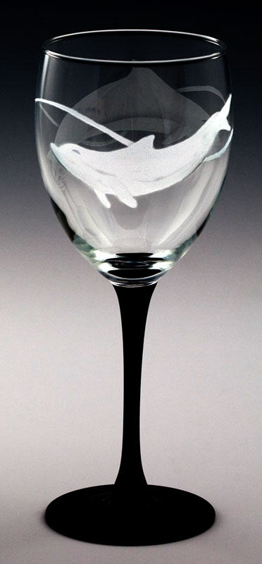 Dolphin Goblet  glass by Cynthia Myers