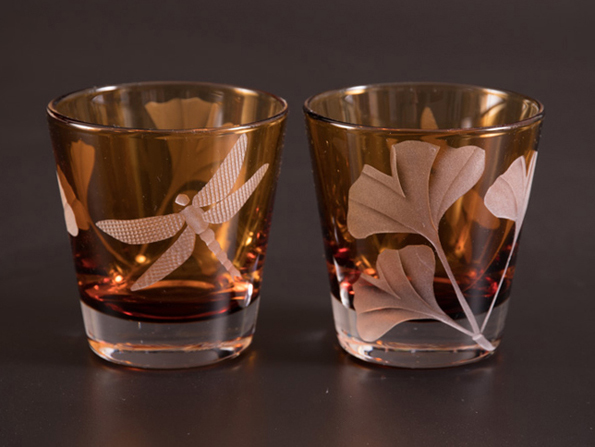 Gingko Dragonfly Cocktail  glass by Cynthia Myers
