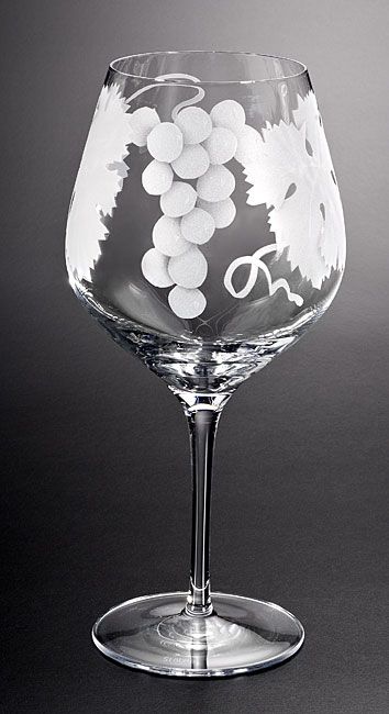Grape Bunch and Leaves Wine Goblet  glass by Cynthia Myers