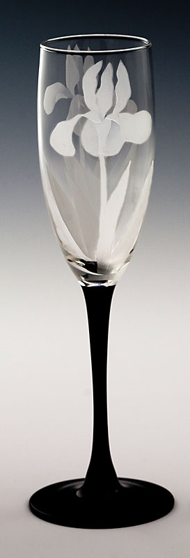 Iris Champagne Flute  glass by Cynthia Myers