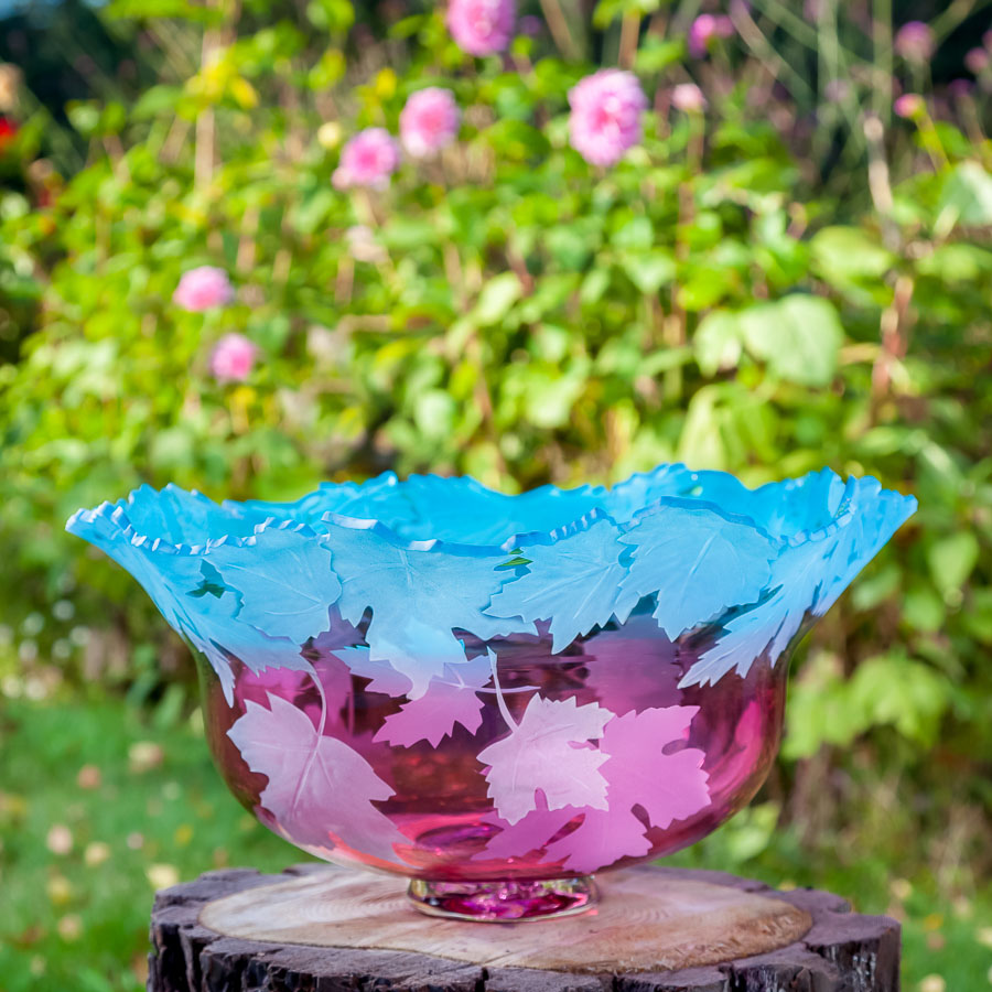 Maple Leaf Bowl art glass by Cynthia Myers