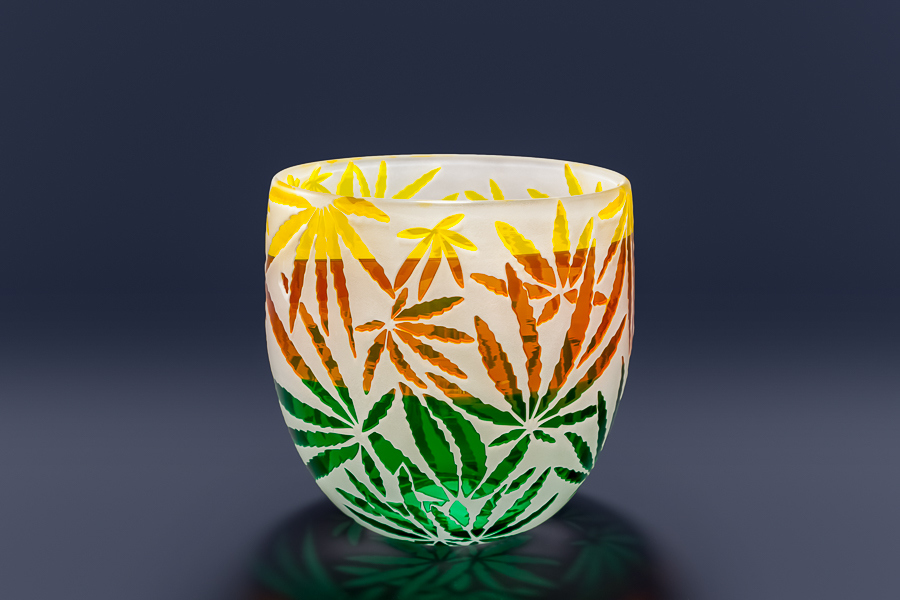 Cannabis Bowl  glass by Cynthia Myers