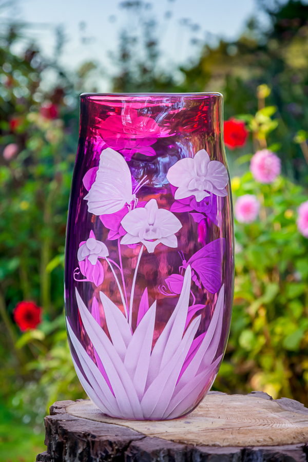 Orchid and Butterfly's art glass by Cynthia Myers