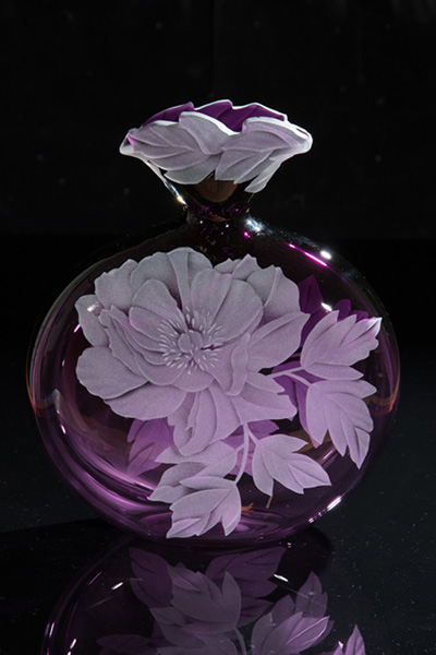 Mom's Peony art glass by Cynthia Myers