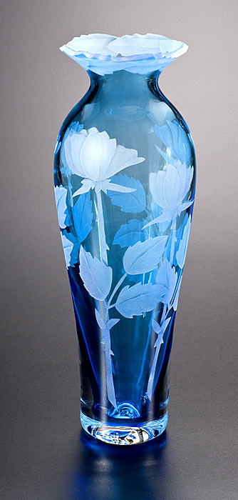 Rose Buds Vase with Cut-Away Lip  glass by Cynthia Myers