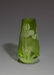 Iris bud vase Lime glass art by cynthia myers