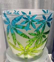 Marijuana Leaves glass art by Cynthia Myers