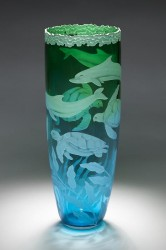 Dolphins and Turtles glass art by Cynthia Myers