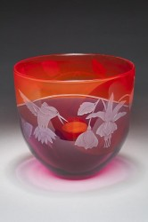 Hummingbird Bowl glass art by Cynthia Myers