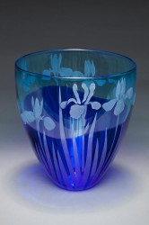 Blue Iris glass art by Cynthia Myers