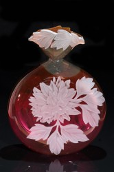 Dahlias glass art by Cynthia Myers