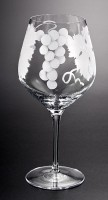 Grape Bunch and Leaves Wine Goblet glass art by cynthia myers
