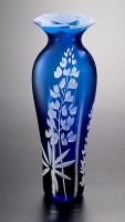 Field Lupines Vase with Cut-Away Lip glass art by cynthia myers