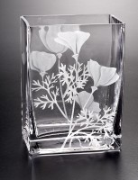 Wild Poppy Vase glass art by cynthia myers